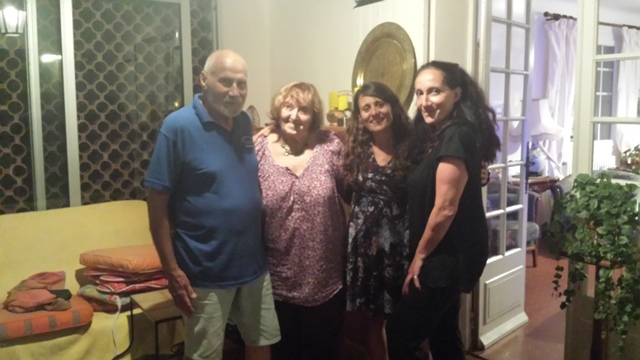 Gaetan, Monique, Saskia and Claude at the house in Salavas.