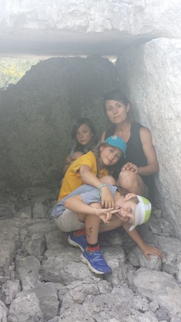 Ella, Lottie, Saskia and Kai in the Upper Dolmen