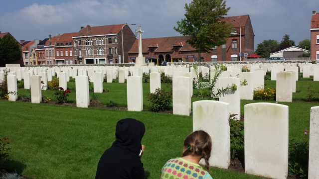 Ella and Lottie at Menin South War Cemetary, Ypres